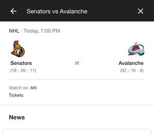 Avalanche Senators tickets tonight for Sale in Aurora, CO