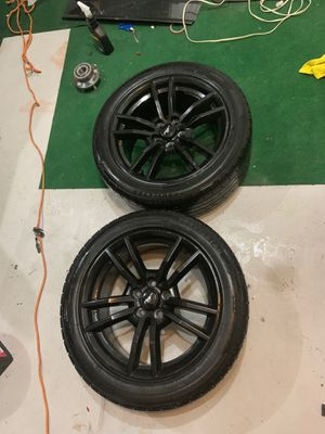 2017 MUSTANG GLOSS BLACK painted Rims & tires GOOD CONDITION WITH SENSORS for Sale in Boyds, MD