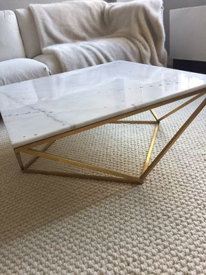 White Marble Coffee Table w/ Gold Base TOV for Sale in West Palm Beach, FL