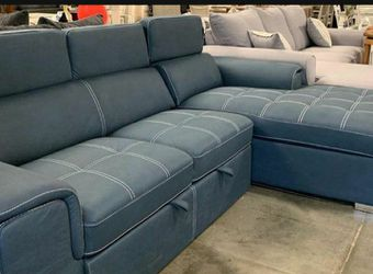 Ferriday Blue Storage Sleeper Sectional Homelegance / couch / Living room set for Sale in Austin,  TX