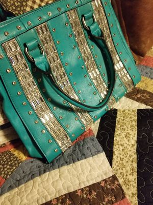 Teal leather purse with bling. for Sale in Streetsboro, OH