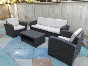 New outdoor resin pvc wicker look 4 piece set patio furniture lounge for Sale in Chula Vista, CA