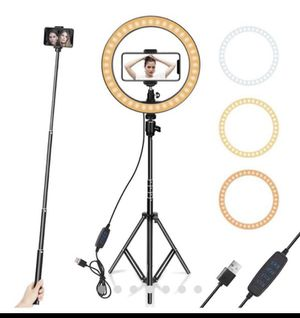 "Ring Light 10"" with Tripod Stand & Phone Holder for YouTube Video, Desktop Camera Led Ring Light for Streaming, Makeup, Selfie Photography Compatible for Sale in Palmdale, CA"