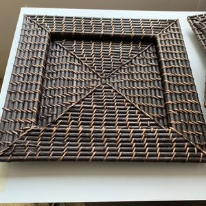 4 Square Woven Bamboo Plates Multi Uses Like New One Holder Has Two Small Flaws As Pictured for Sale in Gresham, OR