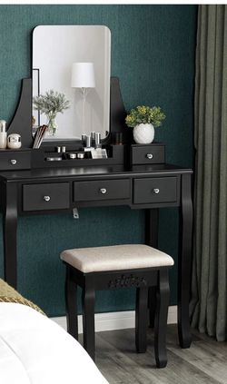 Vanity Table Set with Large Frameless Mirror, Makeup Dressing Table Set for Bedroom, Bathroom, 5 Drawers and 1 Removable Storage Box, Cushioned Stool, for Sale in Corona,  CA