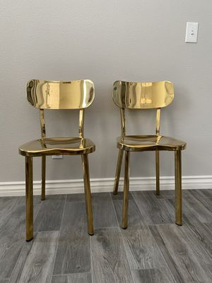 Gold metal dining chairs $35 each for Sale in North Las Vegas, NV