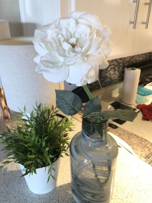 Faux white peony and blue glass vase for Sale in Anaheim, CA