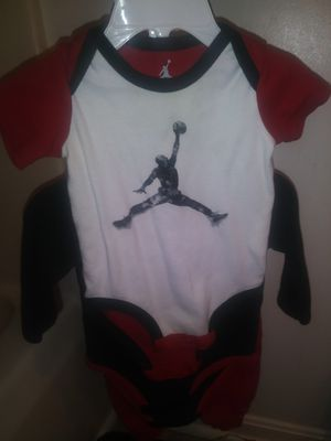 Jordan 3 piece boys outfit 9-12 months red black and white comes with pants one long sleeve onesie and one short sleeve onesie for Sale in Philadelphia, PA