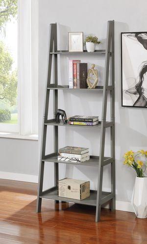 Brand New Grey 5 Tier Wood Ladder Shelf (New in Box) for Sale in Falls Church, VA