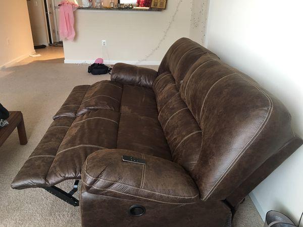3 months old Stallion Brown Recliner Sofa