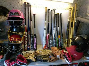 BASEBALL BATS GLOVES HELMETS CLEATS. READ DETAILS for Sale in University City, MO