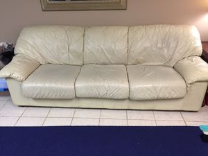 Set of couch and loveseat. Real leather cream colored for Sale in Franklin, TN