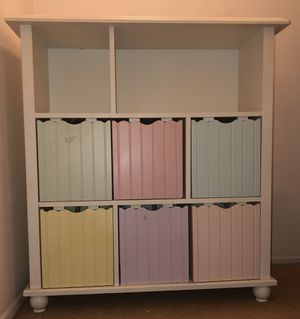 Shelf unit with removable wood bins for Sale in Oceanside, CA