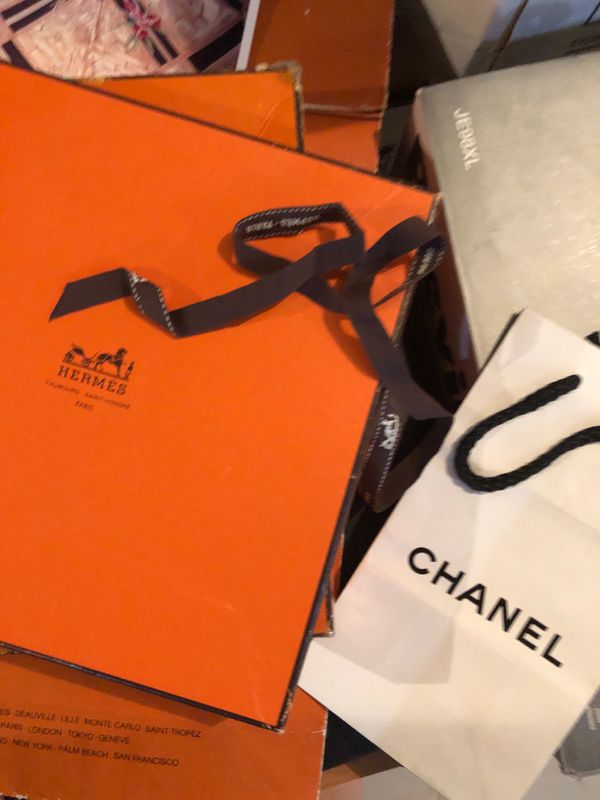 Hermès bag and two boxes plus two Chanel bags
