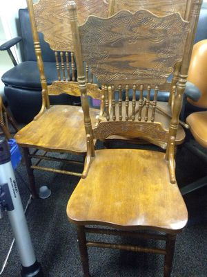 4 wood high back dining room chairs for Sale in Caledonia, MI