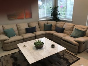 16 ft. Leather Sectional Couch with 2 Recliners for Sale in Temecula, CA