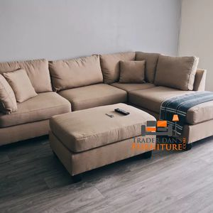 Brand New Sand Linen Sectional Sofa Couch + Ottoman for Sale in Kensington, MD