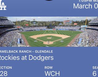 Monday, March 1st 1pm Dodgers Spring Training Tickets 2 for Sale in Alhambra,  CA