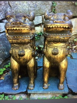 "Vintage Wooden Chinese Foo Dogs 24"" for Sale in Milton, MA"