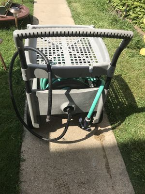 Garden hose box with wheels,65ft hose and Sprinkler for Sale in Chicago, IL
