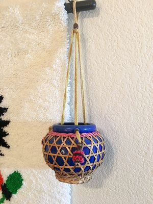 Boho Chic Hanging Plant Holder Macrame and Bamboo Hanging Planter for Sale in Los Angeles, CA