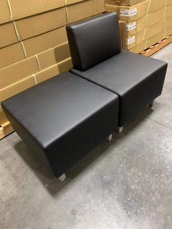 NEW 2pc HON Basyx HVL862 HVL864 Modular Chair Sectional Soft Thread Leather Black Ottoman and Chair 25x50x18 inch Tall 250 lbs Capacity Restaurant Of for Sale in Los Angeles,  CA