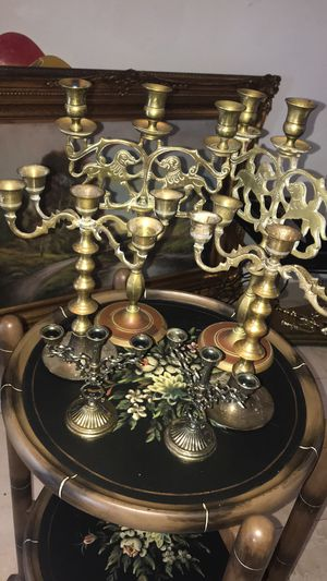 Three pairs of brass candle holders candelabra for Sale in Wilton Manors, FL