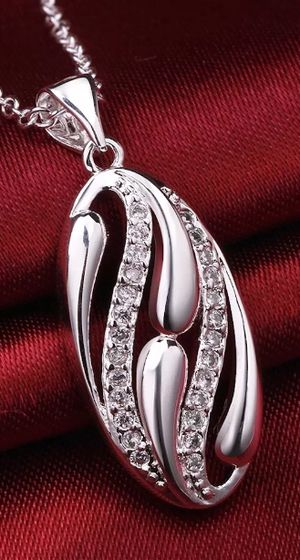 925 Sterling Silver Necklace Pendant Zirconia B42 for Sale in Arlington, VA