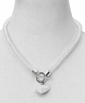 Austrian Crystal Mesh Heart Toggle Lariat Necklace for Sale, used for sale  North Reading, MA