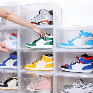 Magnetic Shoe Storage Box Drop Side/Front Sneaker Case Stackable Container XL - Crystal Clear - Single pack for Sale in Queens, NY