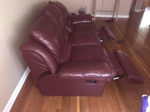 Burgundy leather reclining sofa & love seat **delivery available for Sale in Detroit, MI