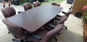 Office conference table with 8 chairs Love Sac for Sale in Los Angeles, CA
