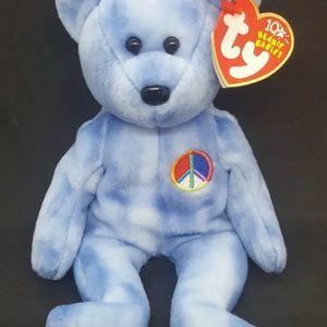 "Ty Beanie Babies PEACE Bear BLUE ""Bear"" - Nov 17, 2002 MINT w/MINT TAGS RARE for Sale in Fort Lauderdale, FL"